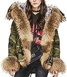 S.ROMZA Chaqueta de piel de mapache para mujer con capucha (XL/40, Camuflaje)