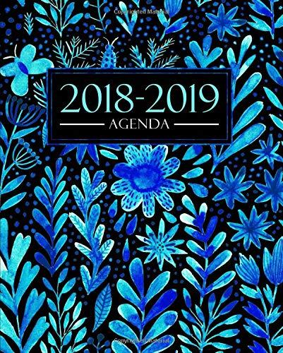 Agenda 2018-2019: 1 de septiembre, 2018 - 31 de agosto, 2019: 190 x 235 mm : Agenda 2018-2019 semana vista español : 160 g/m² : Agenda semanal 12 meses: Bonitas flores azules en acuarela