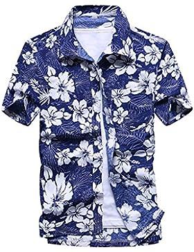Highdas Camicia Hawaiana da Uomo Manica Corta Casual Stampa Top Estivo