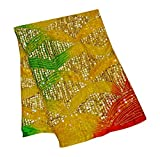 PEEGLI Indische Jahrgang Pailletten Bestickt Stola Gelbe