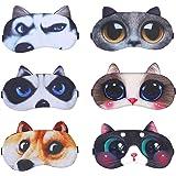 6 Pezzi Mascherina per Occhi, Mascherine per Dormire Animali, Maschera Occhi di Sonno, Maschera per Gli Occhi da Viaggio, 6 S