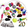 Cat Toys with 3 Way Cat Tunnel 20pcs Kitten Toys Variety Pack