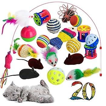 yagood Jouets pour Chats avec Chat Tunnel Jouets,20 Pièces Chaton Jouets Kitten Toys Variété Pack