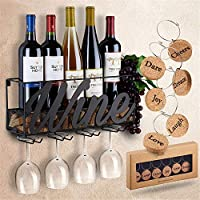 Iron Wall MountedWine Rack, Can Hold 5 Wine Bottles and 4 Goblets with Cork Storage Bottle Display Rack for Kitchen Living Room Bar Area