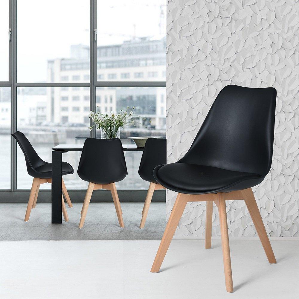 4 stuhl esszimmerstuhl aus holz beine retro kunstleder for Stuhl 4 beine