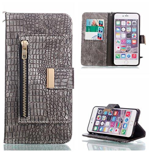 Coque iPhone 6 Plus/6S Plus, Voguecase Housse en PU Cuir avec Support Fonction Étui de Protection Magnétique avec Porte-cartes pour Apple iPhone 6 Plus/6S Plus 5.5 (Crocodile grain II-Marron) + Gratui Crocodile grain II-Gris clair