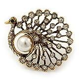 Unbekannt Große Vintage mit 'Pfau' Ring in Antik Gold Metall–4,5cm Durchmesser