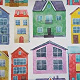 Staab's Beschichtete Baumwolle Bunte Häuser (Meterware, Qualität Zum Nähen) (50 x 140 cm)