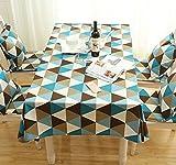 Mdd Tech moderno unico Triangle design antipolvere tovaglia per tavolo quadrato, Blue, 90x140cm