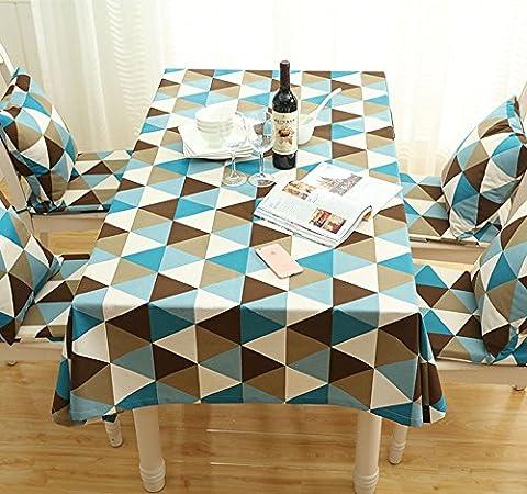 MDD Tech moderne unique Triangle projet étanche à la poussière Nappe pour la table carré, bleu, 140x200cm