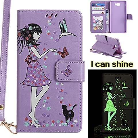 Galaxy J7 Prime Flip Cover, Galaxy J7 Prime Leather Case, BONROY® Luminous Girl and Cat Embossed Pattern Premium PU Leather Wallet Book Style Protective Case with Card/Cash Slots Wrist Strap For Samsung Galaxy J7 Prime - Light purple