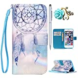 Felfy iPhone 4S Handyhülle, Ultra Slim Flip für/Apple iPhone 4/4S/Leder Etui Ledertasche Schutzhülle Case/ablösbar Handy Lanyard Blue Himmel Dreamcatcher Design/1x Blau Blume Stöpsel/1x Silber Stylus