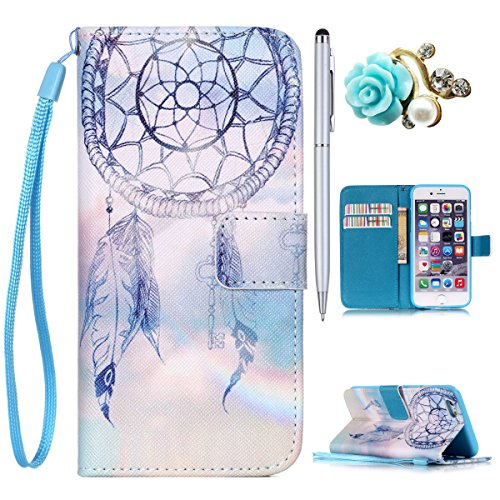 iPhone 4S Handyhülle, Felfy Ultra Slim Flip für / Apple iPhone 4/4S / Leder Etui Ledertasche Schutzhülle Case / ablösbar Handy Lanyard Herrlichem Meerblick Design/ 1x Bling Koala Stöpsel / 1x Gold Sty Dreamcatcher