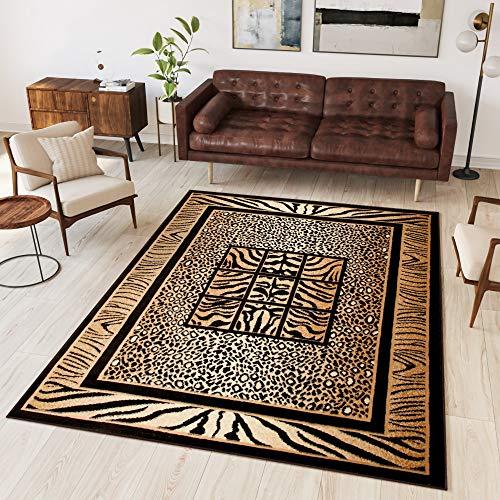 Tapiso® Alfombra Colección Atlas | Salón Piso Cuarto De Estar | Color Negro | Decorativo Diseño Leopardo Bordura | De Fácil Cuidado 70 x 130 cm