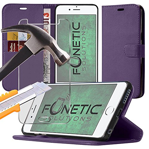 Price comparison product image (Purple) Huawei Honor 8 case Wallet Stand Flip Leather Case Skin Cover withCredit/Debit Card holder slots and Quality Crystal Clear tempered Glass Screen Protector Guard by Fonetic Solutions®