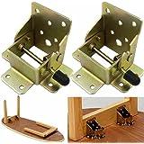 (1 paire)Extension de pied de table pliante autobloquante à 90 degrés, support d'étagère pliable, télescopique, caché, pour b