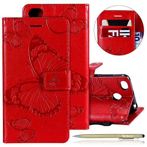 Herbests Leder Handy Schutzhülle für Xiaomi Redmi 4X Lederhülle Schmetterling Muster Leder Handyhülle Handytasche Brieftasche Ledertasche Bookstyle Flip Case Cover Klapphülle,Rot