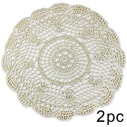 PsmGoods® Hecho a mano algodón encaje mesa manteles individuales redondo posavasos de flores de ganchillo Doilies, algodón, Burlap, 1 Small Flower 35cm Beige