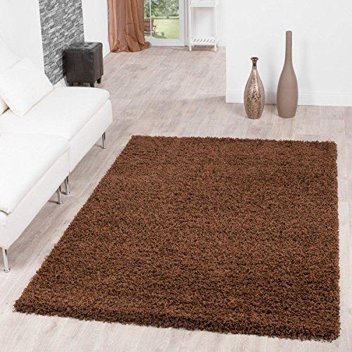 T&T Design Shaggy Teppich Hochflor Langflor Teppiche Wohnzimmer Preishammer Versch. Farben, Größe:140x200 cm, Farbe:braun