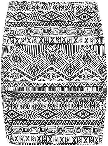 Damen Azteken Tier SCHOTTENKARO Streifen Comic vichy-druck Damen Stretch elastischer Bund enganliegend Minirock