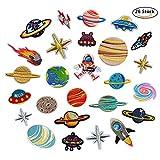 DoBestLJZ 26 Stück Raum Astronaut Zum aufbügeln Patch Sticker Applikationen Zum Nähen Oder Aufbügeln, Niedlich DIY Kleidung Patches Aufkleber für T-Shirt Jeans Kleidung Taschen