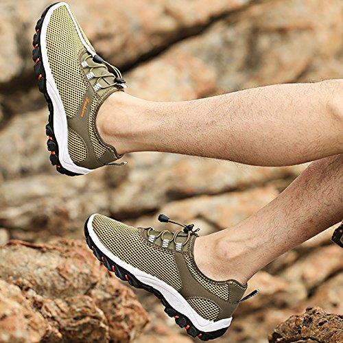 Scarpe da ginnastica da uomo ultraleggere in rete traspirante, per escursioni e arrampicate Green