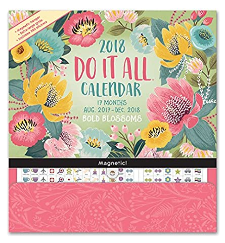 Bold Blossoms Do It All 17 Months 2018 Calendar: Includes Magnetic Hanger and Stickers (Square Planner)