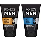 POND'S Men's Energy Bright Face Wash Coffee Beans Bright Skin, 100g And POND'S Men Oil Clear Facewash, Anti-Dullness Cooling