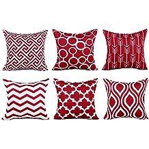 Top Finel Fundas cojín lona de Almohadas creativa para el sofá Juego de 6 45x45cm rojo