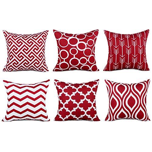 Top finel federe cuscini gatto in cotone lino morbidi quadrati decorativi in divano letto sedia 45x45cm,6pezzi-bordeaux