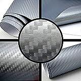 3D Carbon Folie silber-grau BLASENFREI 0,5m x 1,52m mit Luftkanäle