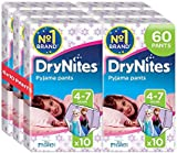 Huggies DryNites Girls Pants 4-7 Years, Designs May Vary - 6 Packs (Total 6 x 10 Wipes)