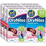 Huggies DryNites Girls Pants 4-7 Years, Designs May Vary - 6 Packs (Total 6 x 10 Pants)