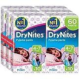 DryNites Pyjama Pants - Braguitas absorbentes para niñas (4 - 7 años) - [Pack de 6 x 10 pañales]