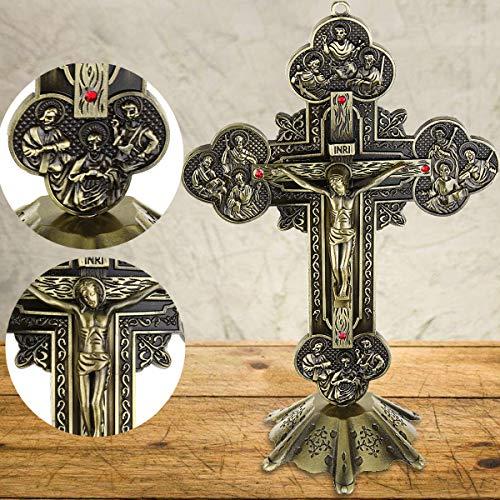 Bureze Jesus INRI, katholischer Altar stehend, religiöses Kruzifix-Kreuz, mit Sockel, 10 Stück