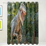 Fenster Vorhang, Luxus Dinosaurier in Wald Bäume Print isoliert Dick Super Soft Polyester Stoff Home Decor mit Öse 2Platten für Schlafzimmer Wohnzimmer Badezimmer Küche 213,4x 139,7cm