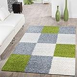 T&T Design Moderner Hochflor Teppich Karo Muster Shaggy Zottel Teppiche Grau Weiß Grün, Größe:70x140 cm