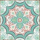 Lps Paquete de 10 Pegatinas Estilo Victoriano marroquí de Estilo Tradicional Envejecido, Estilo Mosaico, Color Azul Pastel y Verde, Rosa, Rosa, Azulejos, Adhesivos, para baño, Cocina, etc.