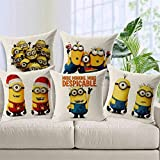 #3: Galaxy Home Decor™ Minion Printed Cushion Cover Set of 5 - Made of Exceptional Quality for a Perfect Interiorcushion covers 16x16 set of 5 Multicolor Minions
