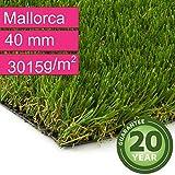 Kunstrasen Rasenteppich Mallorca für Garten - Florhöhe 40 mm - Gewicht ca. 3015 g/m² - UV-Garantie 20 Jahre (DIN 53387) - 4,00 m x 5,00 m | Rollrasen | Kunststoffrasen