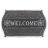 JVL Welcome Aspect métallique Floral résistant d'entrée Tapis de Porte de Sol, PVC, Argent et Noir
