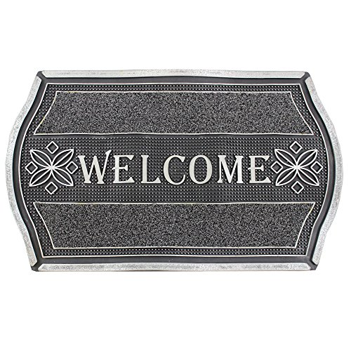 Felpudos divertidos Bienvenido aspecto metálico floral resistente entrada suelo Felpudo, PVC, color plateado y negro