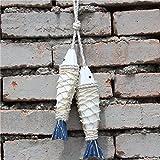 D DOLITY Stoff Fisch Anhänger Wanddeko Wandverzierung Wandhänger für Wohnzimmer - Blau Weiss, 20x5x2.7cm