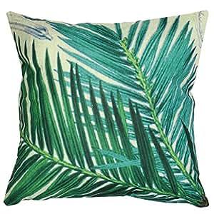 Luxbon-Sago Cycas Leaf Outdoor Cushion Cover Durable Cotton Linen Throw Pillow Case Home Decors 18X18 inch 45x45cm