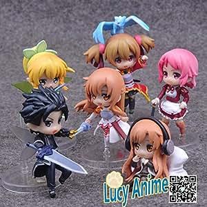 Anime sword art online set 6piece Kirito, Asuna silice Recon sao PVC-les figurines de Collection Jouets-Poupée et Mini-Poupée - 6 cm