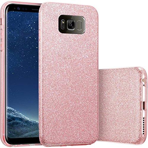 FINOO | Samsung Galaxy S8 Rundum 3 in 1 Glitzer Bling Bling Handy-Hülle | Silikon Schutz-hülle + Glitzer + PP Hülle | Weicher TPU Bumper Case Cover | Pink