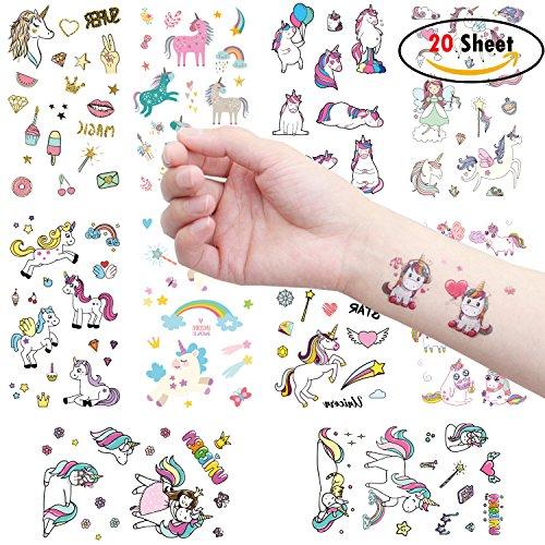 nhorn Tattoo Temporäre Fake Tattoo Aufkleber für Kinder Mädchen Einhorn Kindergeburtstag Geburtstag Kinder Geschenk Pinata (Halloween Kostüme Für 8 Personen)