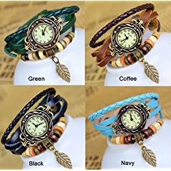 chinkyboo®4 Colors Quartz Cool Weave Wrap Around Leather Bracelet Lady Woman Wrist Watch+chinkyboo logo bag