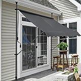 [pro.tec]® Klemmmarkise - Grau - 150 x 120 x 200-300cm - Markise Balkonmarkise Sonnenschutz - ohne Bohren