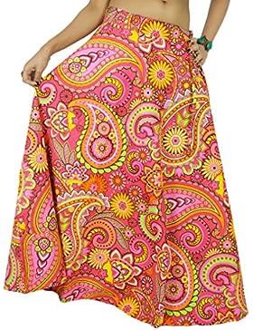 Pink larga de algodón impresa de las mujeres ropa desgaste de la playa de la falda del cordón del Hippie
